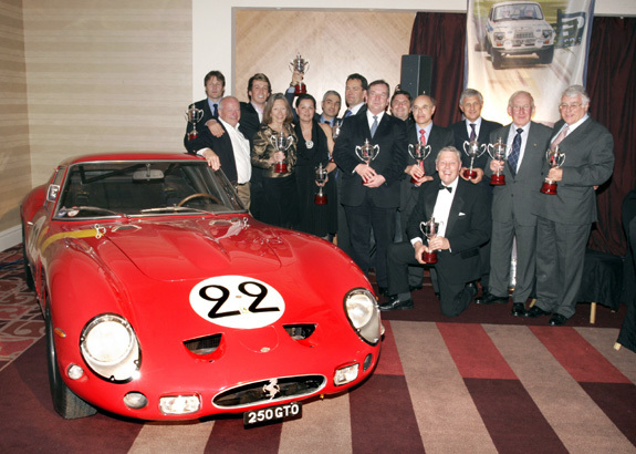 The Historic Motorsport Award Winners gather at the end of the Award evening, alongside Nick Mason's 250 GTO, for a photo opportunity.